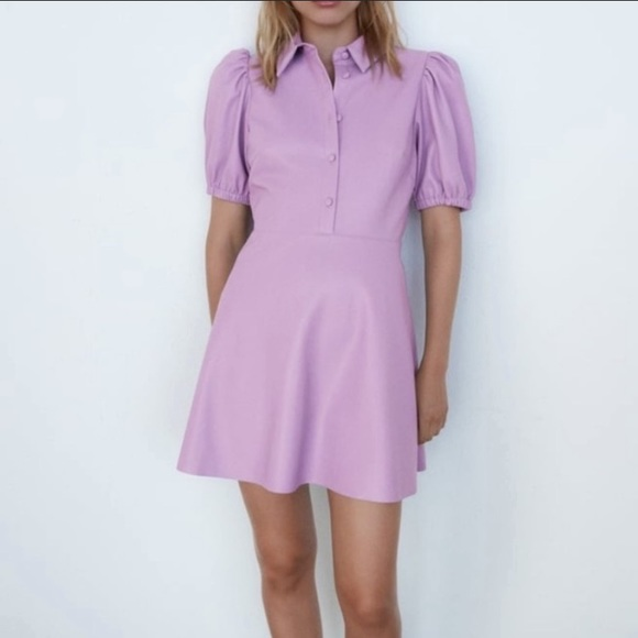 ZARA Faux Leather Mini Dress Lilac Blogger Fave